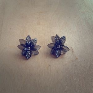 J Crew Gray Flower Earrings